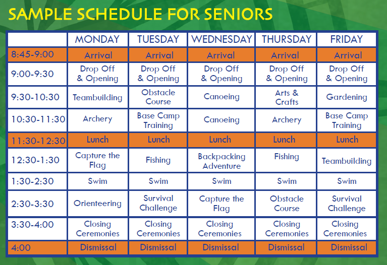 Sample Schedule | Outward Adventures Camps | Wellesley, MA