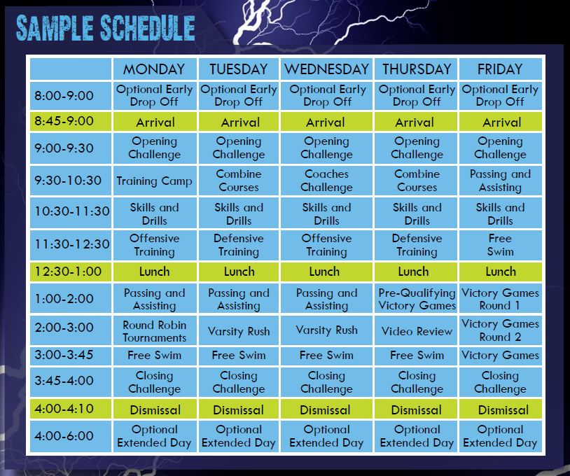 Sample Schedule | LX Sports Camps | Wellesley, MA